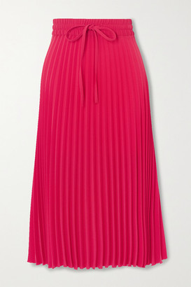 RED Valentino Pleated Crepe Midi Skirt