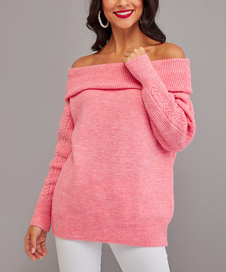 Milan Kiss Women's Pullover Sweaters PINK - Pink Off-Shoulder Sweater - Women