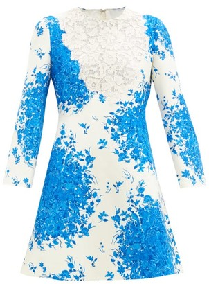 Valentino Delft-print Wool-blend Crepe Couture Mini Dress - Blue White