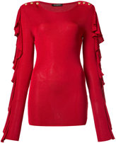 Balmain ruffled button shoulder blouse - women - Viscose - 36