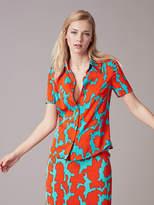 Diane von Furstenberg Short-Sleeve Collared Shirt