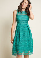 ModCloth Fit and Flare Lace Midi Dress in Jade in 2X - Sleeveless Fit & Flare
