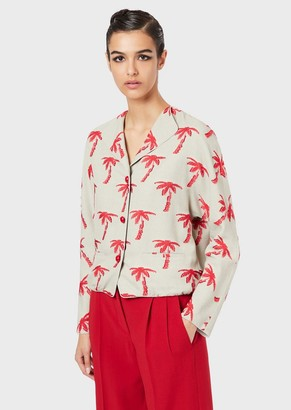 Giorgio Armani Jacket In Fil Coupe Fabric With Palm Trees