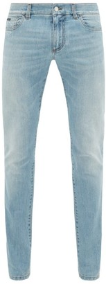 Dolce & Gabbana Distressed Slim-leg Jeans - Mens - Light Blue