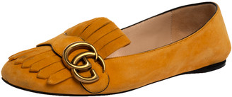 Gucci Yellow Suede Leather GG Marmont Fringe Detail Ballet Flats Size 36