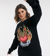 Rokoko Plus oversized long sleeve t-shirt dress with flame graphic