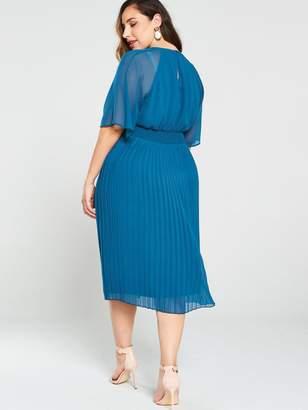 Junarose Curve Muzz 2/4 Sleeves Midi Dress - Blue