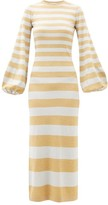 Bella Freud Susie Bell Metallic-stripe Maxi Dress - Womens - Silver Gold