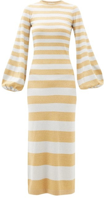 Bella Freud Susie Bell Metallic-stripe Maxi Dress - Silver Gold