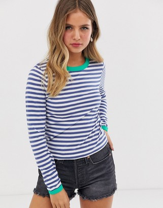 Brave Soul eloise long sleeve t shirt in stripe with contrast rib-Navy