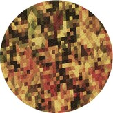 Abstract Wool Yellow/Red Area Rug Ebern Designs Rug Size: Round 4'