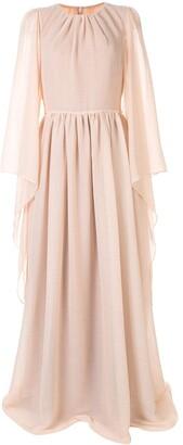 Ingie Paris Draped Long-Sleeved Gown