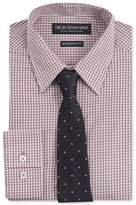 Nick Graham Men's Modern Fitted Gingham Dress Shirt and Dot Tie Set