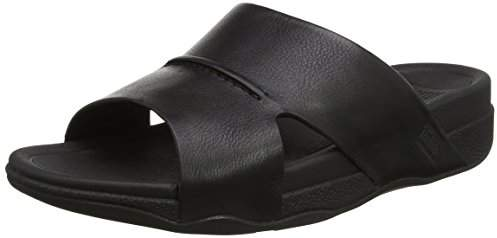 FitFlop Men's Bando Leather Slides Open-Toe Sandals, Black, 44 EU