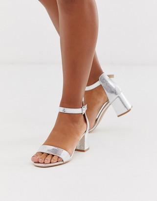 Glamorous silver snake embossed block heeled sandals