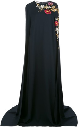 Oscar de la Renta Rose Embroidered Tunic Gown