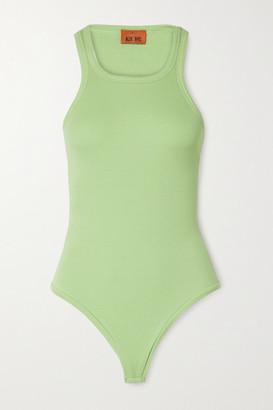 Alix Austin Ribbed Stretch-modal Jersey Thong Bodysuit - Light green