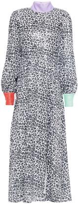 Olivia Rubin Amelie Open-back Sequined Printed Georgette Midi Dress