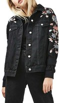 Topshop Women's Embroidered Denim Jacket