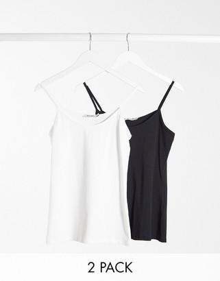 NA-KD 2 pack cami top in black and white