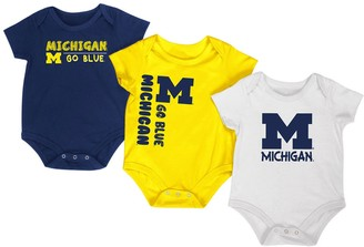 Colosseum Newborn & Infant Navy/Maize/White Michigan Wolverines Trifecta 3-Pack Bodysuit Set