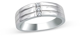 Bloomingdale's Men's Diamond 3-Stone Ribbed Band in 14K White Gold, 0.15 ct. t.w. - 100% Exclusive