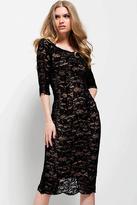 Jovani 52085 Quarter Sleeved Scalloped Lace Dress