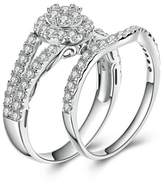 AmDxD Jewelry Plated Women Promise Customizable Rings Round CZ Double Ring Size 5,Engraving