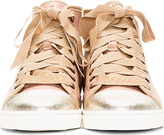 Lanvin Rose & Silver Tone High Top Sneakers