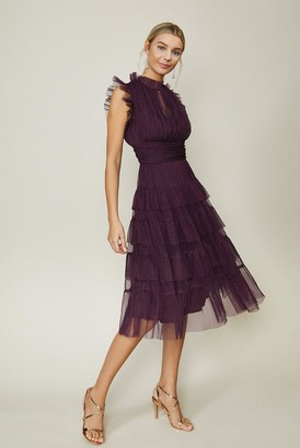 Coast Tulle Tiered Frill Sleeve Dress