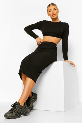 boohoo Ribbed High Waisted Midi Skirt