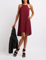 Charlotte Russe Bib Neck High-Low Shift Dress