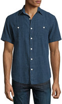 Faherty Seasons Check-Print Short-Sleeve Shirt, Indigo