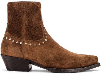 Saint Laurent Lukas Zip Stud Ankle Booties in Land | FWRD