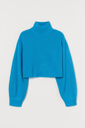 H&M Cropped Turtleneck Sweater - Blue