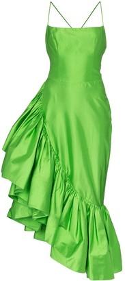 Rasario Asymmetric ruffle trim dress