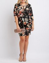 Charlotte Russe Plus Size Floral Caged Peplum Bodycon Dress