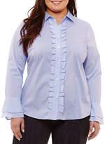 Liz Claiborne Ruffle Front Shirt- Plus