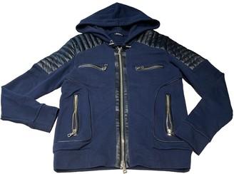 Balmain Navy Leather Jackets