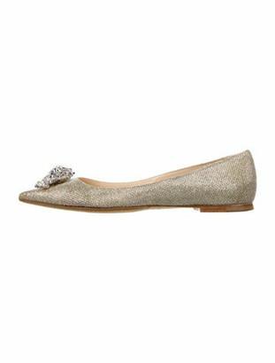 Jimmy Choo Crystal Embellishments Ballet Flats Silver
