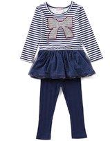 Flapdoodles Little Girls 2T-6X Striped/Pattern Dress & Leggings Set