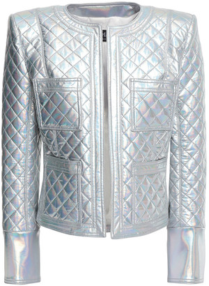 Balmain Quilted Holographic Stretch-jersey Jacket