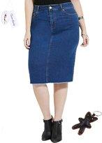 Tortor 1bacha Women Plus Size Knee Length Denim Pencil Skirt 18