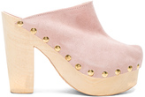 Brother Vellies Suede Clogs in Pink.