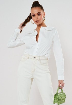 Missguided Poplin Peter Pan Collar Long Sleeve Shirt