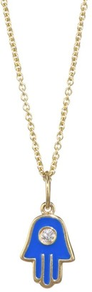 Sydney Evan 14K Yellow Gold Diamond & Enamel Hamsa Necklace