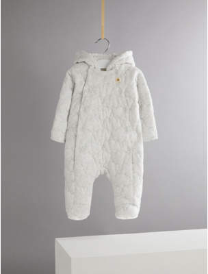 George Billie Faiers Grey Marl Cloud Embroidered Padded Hooded Snowsuit