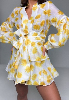 Missguided Yellow Co Ord Leaf Print Mesh Shorts