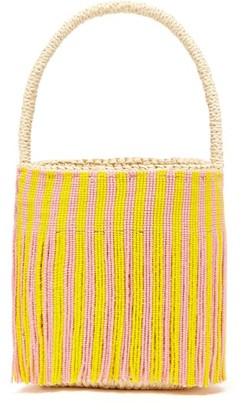 Sensi Beaded-fringe Torquilla-straw Basket Bag - White Multi