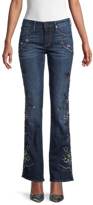 Driftwood Kelly Floral Embroidery Flare Jeans